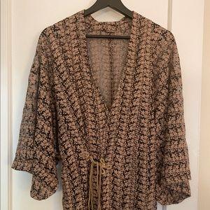 Floral Embroidered Vintage Wrap/Dressing Robe